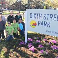 Volunteers posing at Sixth Street Park